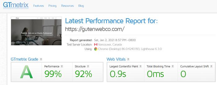 GeneratePress es Excelente en Velocidad de Carga